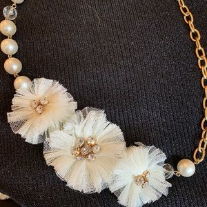 Large pearl, tulle, crystal and chain necklace